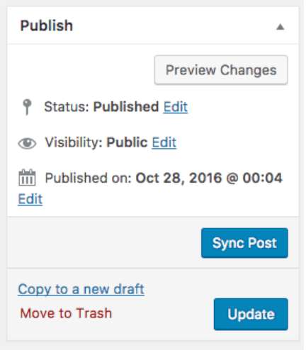 screenshot of the Sync Post button